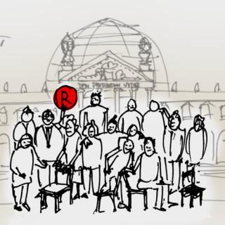 Mitglieder des Berliner Ratschlags für Demokratie und der Flüchtlingsfirma Cucula vor dem Deutschen Bundestag
