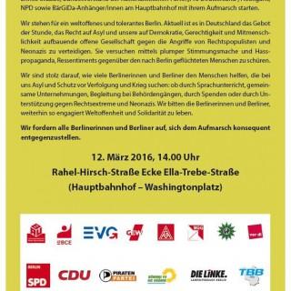 Das Bild zeigt den Aufruf mehrerer Organisationen / Gewerkschaften, Parteien, Kirchen.